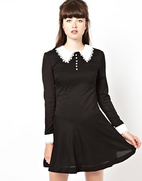 Image 1 of Pop Boutique Swing Dress with Lace Collar and Cuff