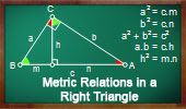 Metric Relations in a Right Triangle, Theorems and Problems.