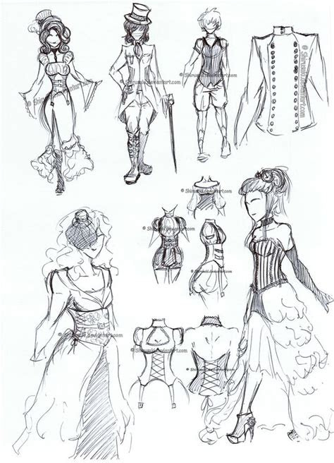 draw anime outfits steampunk clothes