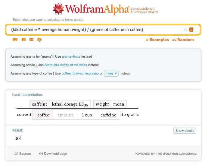 Cafeína en Wolfram Alpha