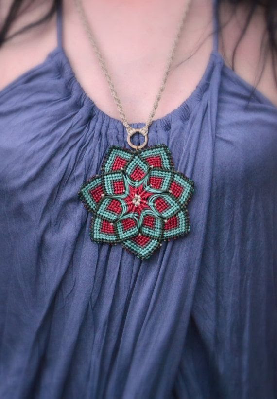 Macrame mandala flower unisex red brown mint olive by Bohochoco.