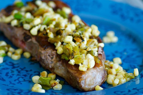 grilled steak with hatch chile, corn, and shallot sauce