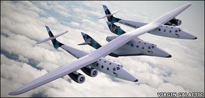 எதிர்காலத்தில் பூமியில் இருந்து சுற்றுலாப் பயணிகளை விண்ணுக்கு காவிச் செல்ல என்று வேர்ஜின் நிறுவனத்தால் வடிவமைக்கப்பட்டுள்ள விண்ணோடம் - SpaceShipTwo