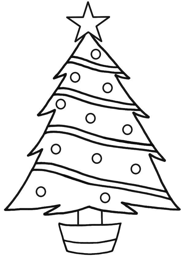 Star on Top Christmas Trees Coloring Pages | Color Luna