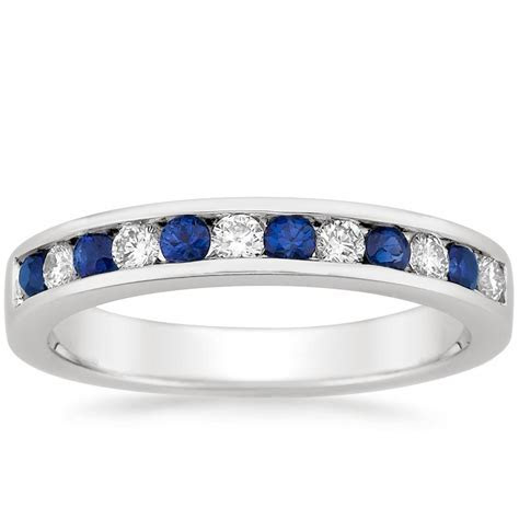 Channel Set Round Sapphire and Diamond Ring   Brilliant Earth