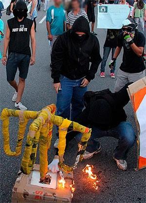 Polícia quer identificar 'ninjas', apontados como causadores de atos de vandalismo nos protestos em Natal  (Foto: Humberto Sales)