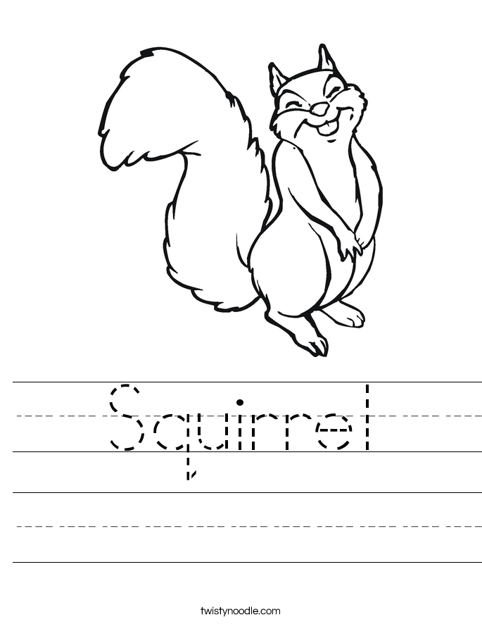 Squirrel Worksheet - Twisty Noodle