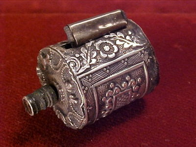 Fancy 1860s Early Victorian Sterling Silver Sewing Tape Measure
