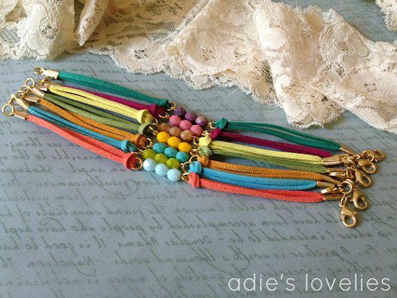 Faux Suede & Czech Glass Faceted Bead Bracelets - Matte Gold - 7 Color Combos.
