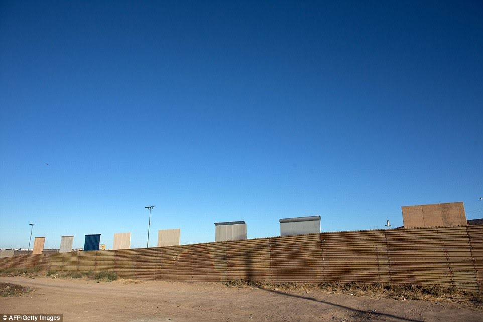 The eight prototypes are pictured across the border from Tijuana, Mexico. There are currently 654 miles of single-layer fence on the 1,954-mile border, plus 51 miles of double- and triple-layer fence