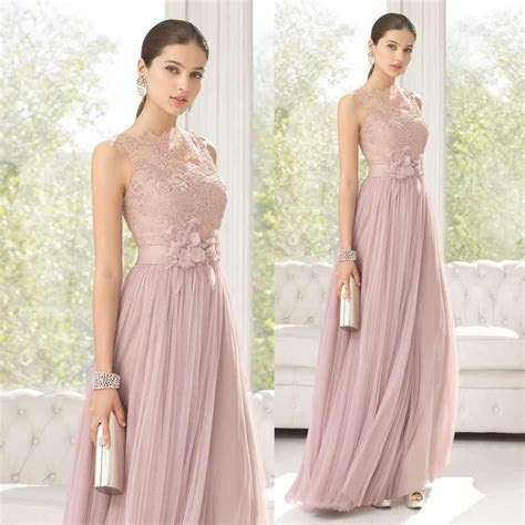 2015 Lovely Blush Long Bridesmaids Dress Sheer Lace High