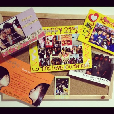 Heartaches to pin my beloved cards on the board. But so pretty~ :D  (Taken with Instagram)