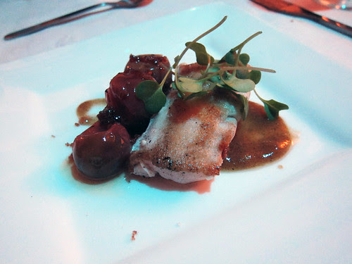 escolar, bruleed tomato confit, charred pickled peach gastrique