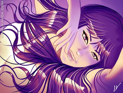 Mulher sexy de cabelo roxo ilustração by ila fox