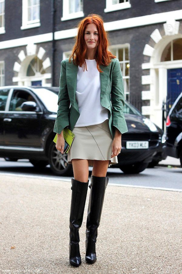Le Fashion Blog -- London Street Style: Taylor Tomasi Hill -- Red Hair Green Blazer Skirt Over The Knee Boots -- Via Malmo Street Style -- photo Le-Fashion-Blog-London-Street-Style-Taylor-Tomasi-Hill-Green-Blazer-Skirt-Over-The-Knee-Boots-Via-Malmo-Street-Style.jpg