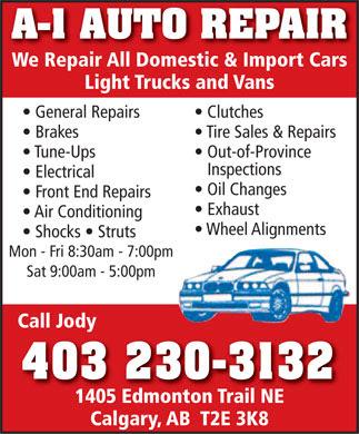 Auto Repair California on Auto Repair  403 230 3132    Display Ad   A 1 Auto Repair We Repair
