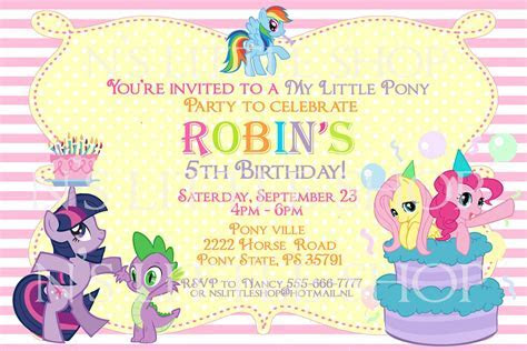 My Little Pony Blank Invitations