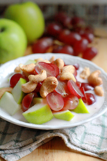 Healthy Yummy Breakfast - Grapes, Apples, Yoghurt, Cashew Nuts