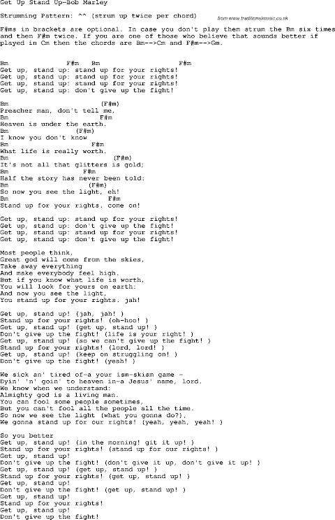Bob Marley Get Up Stand Up Lyrics