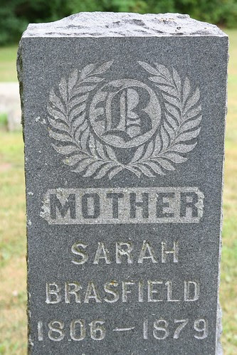 Closeup of the tombstone of Sarah Brasfield