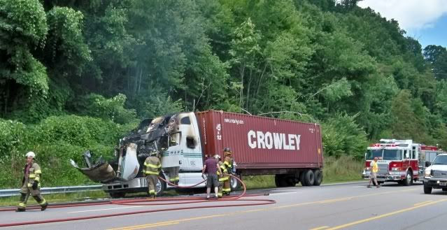 Tractor-trailer fire on US441N in Macon County