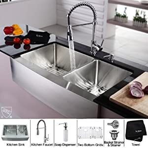 Stainless Steel Farmhouse Kitchen Sink Faucet/Dispenser - fg38