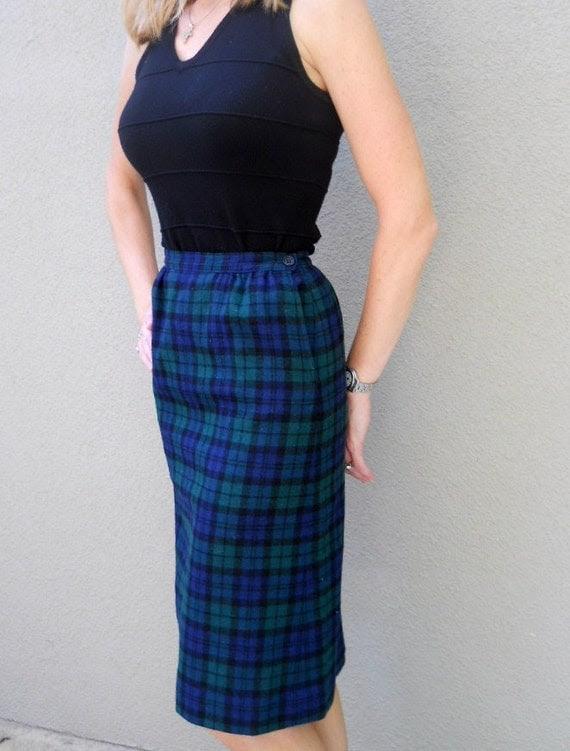 "Vintage 80s Pendleton Wool Pencil ""Black Watch"" Tartan Skirt - xsmall"
