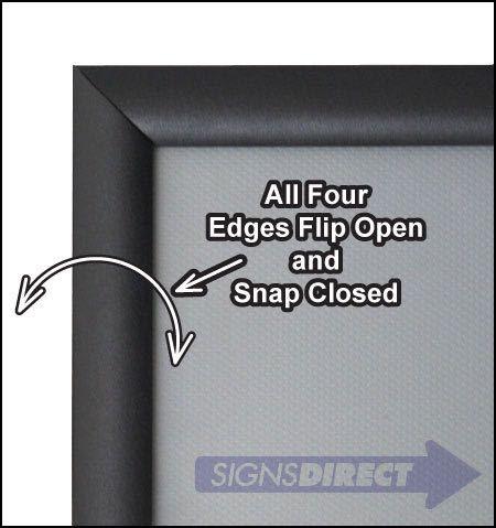 11x17 Snap Open Quick Change Sign Frames Black Aluminum