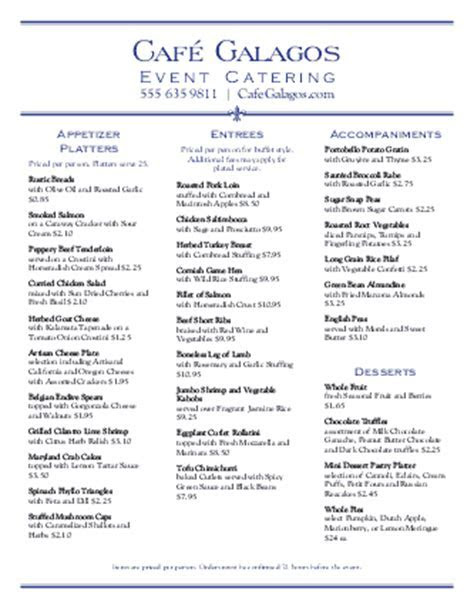 Graduation Party Catering Menu   Design Templates by