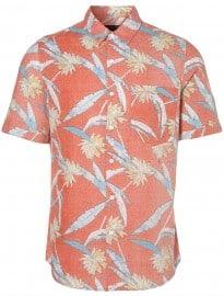 Topman Coral Palm Leaf Pattern Short Sleeve Shirt