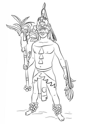 Dibujo De Guerrero Maya Para Colorear Dibujos Para Colorear