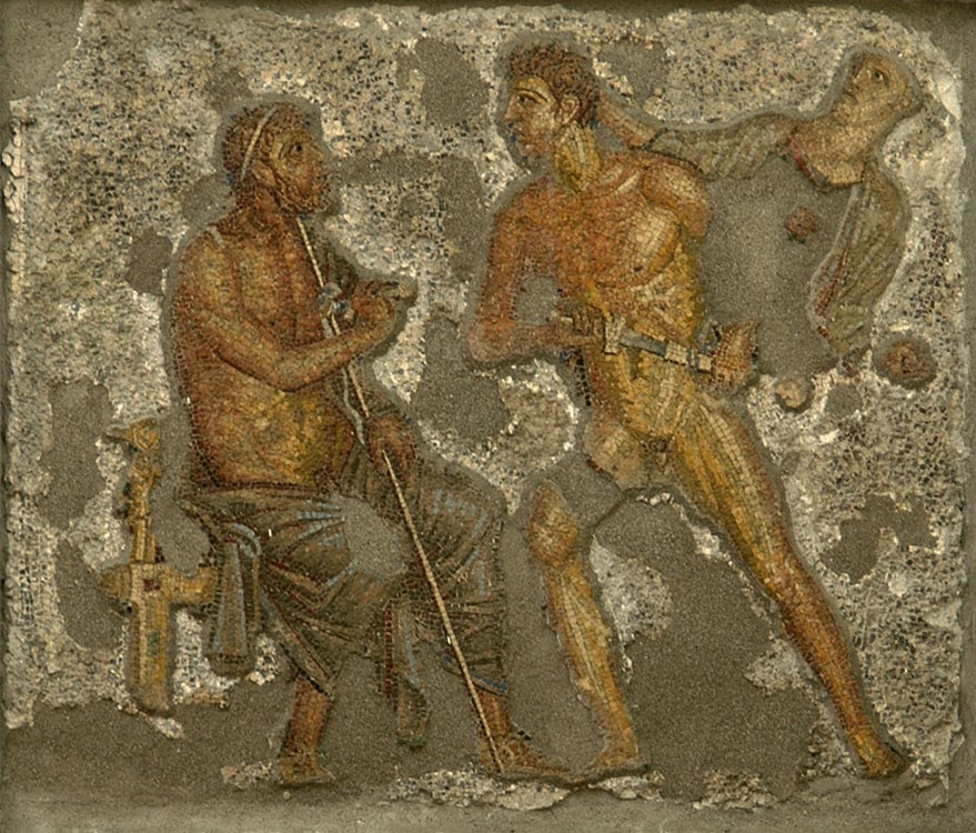 Wrath of Achilles: Athene appears to prevent the hero from assaulting Agamemnon. Mosaic from Pompeii (House of Apollo, VI, 7, 23, inside wall of the garden). Glass mass. Inv. No. 10006. Naples, National Archaeological Museum.