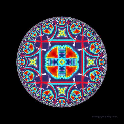 Geometric Art of problem 1282: Hyperbolic Kaleidoscope using iPad Apps