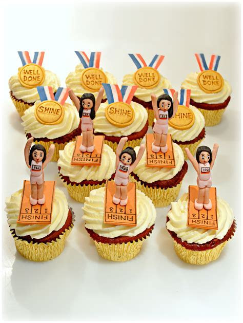 Marathon Runners Finish Line and Gold Medals Red Velvet
