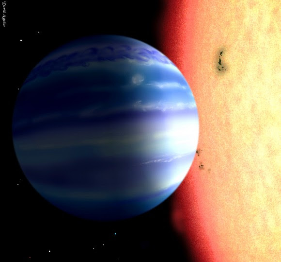 Artist's concept of a hot Jupiter exoplanet orbiting a star similar to tau Boötes (Image used with permission of David Aguilar, Harvard-Smithsonian Center for Astrophysics)