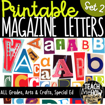 Printable Magazine Letter Cutouts, Set 2, Alphabet a-z: Wo