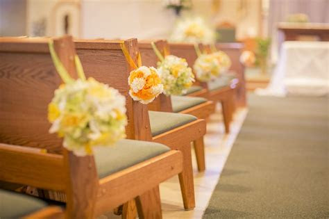 green  yellow wedding theme church aisle decorations