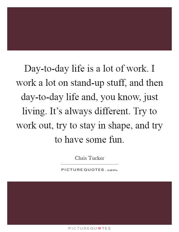 Day To Day Life Is A Lot Of Work I Work A Lot On Stand Up Picture Quotes