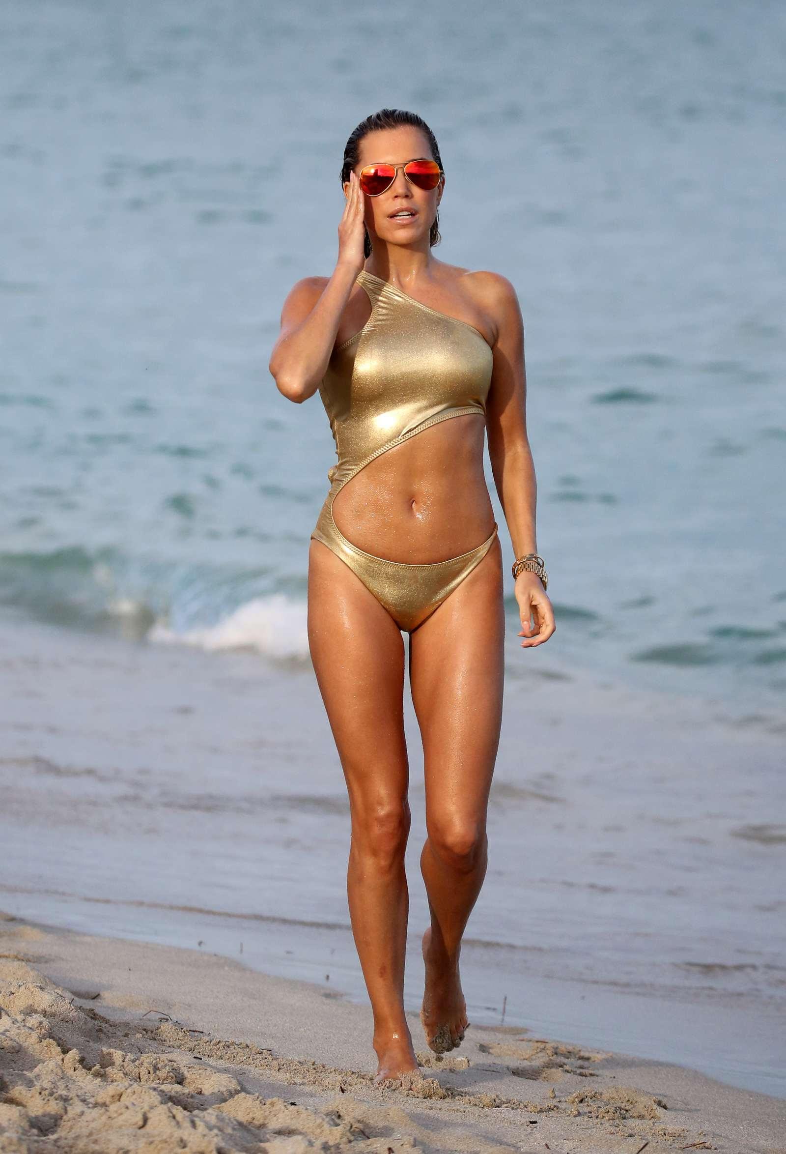 Sylvie Meis in Gold Swimsuit on Miami Beach