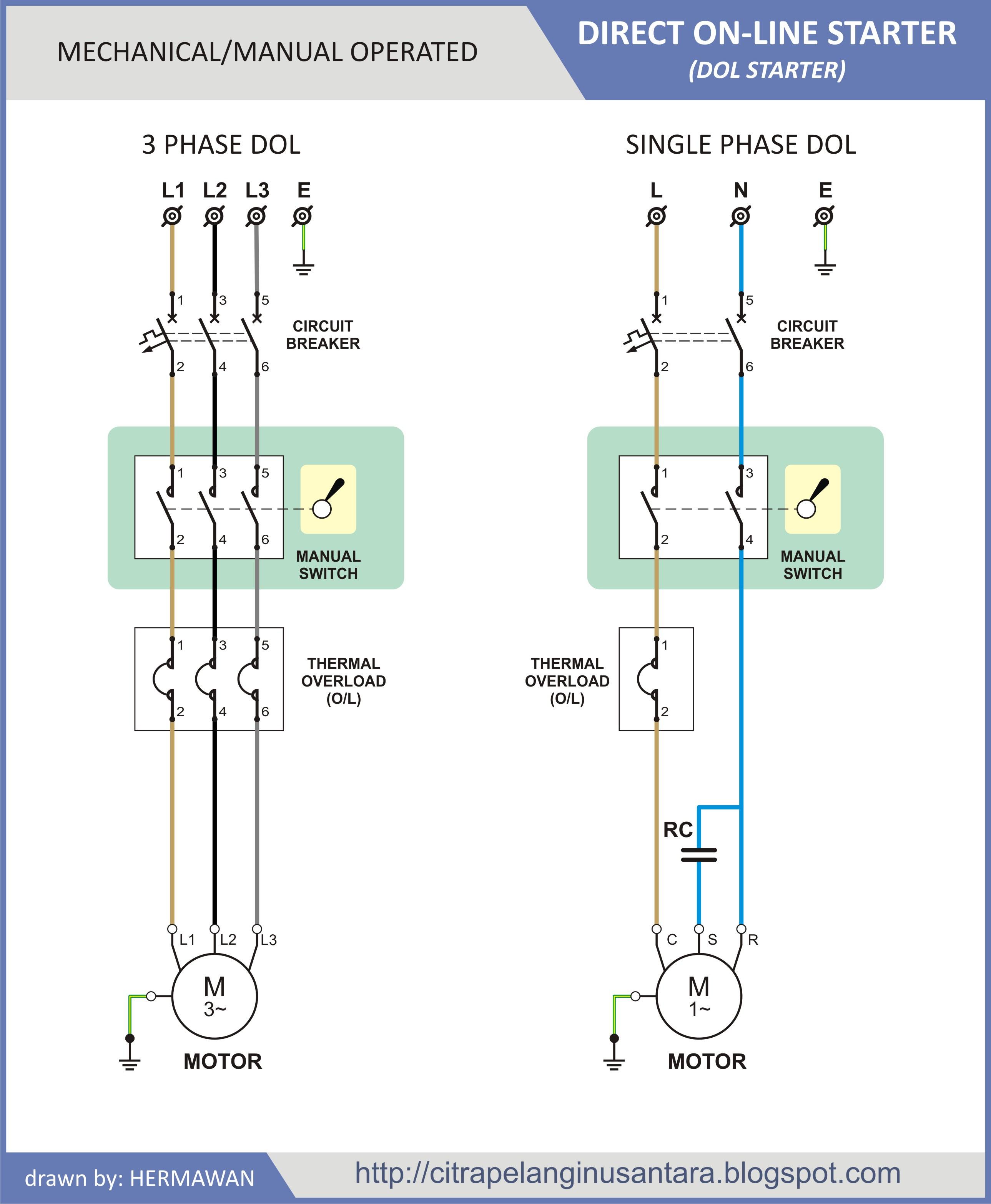 Hawaiianpaperparty Single Phase Dol Starter Wiring Diagram Pdf