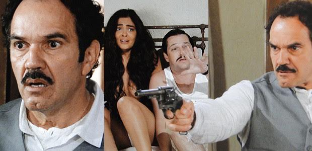 Nacib flagra Gabriela e Tonico nus em sua própria cama. Ele aponta a arma para o casal... (Foto: Gabriela / TV Globo)