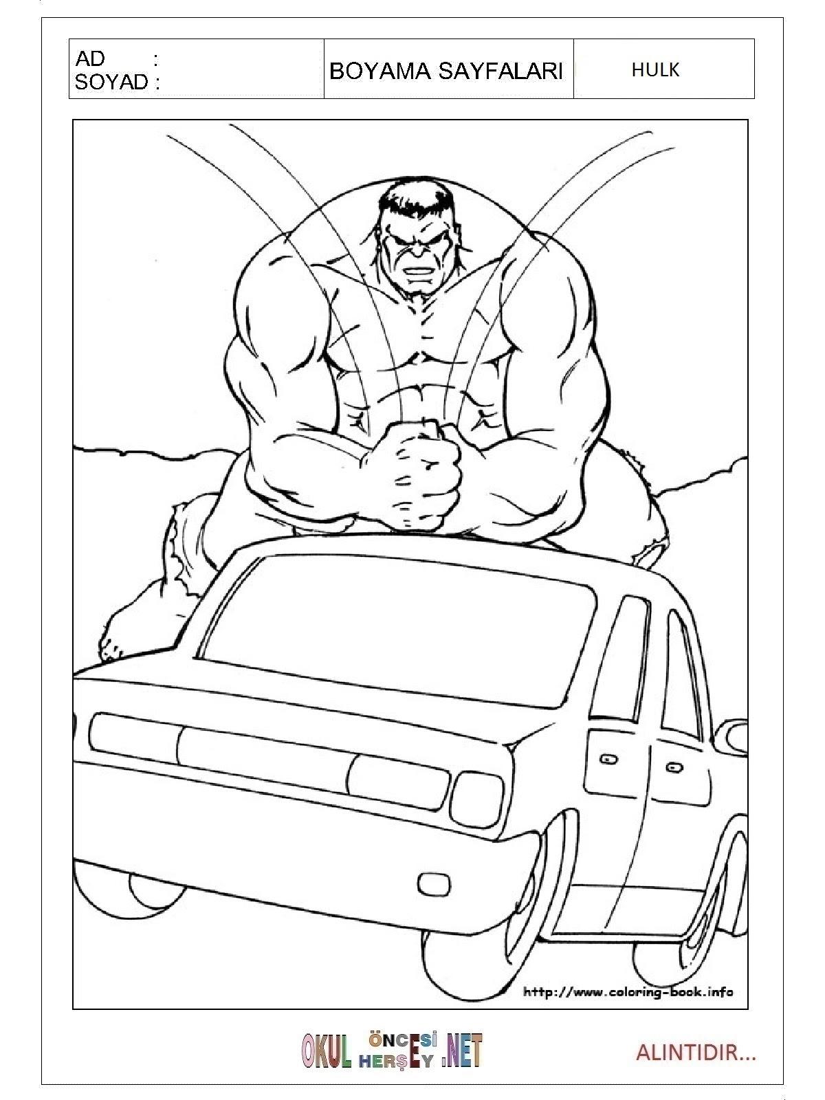 Hulk Boyama Sayfalari