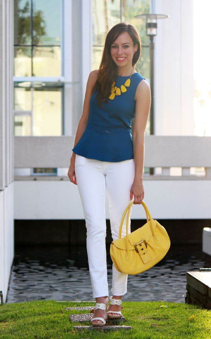 How to wear a peplum top with skinny jeans Paige Skyline Skinny white jeans blue and yellow
