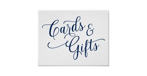 Cards & Gifts Wedding Sign   Typography  Navy Blue