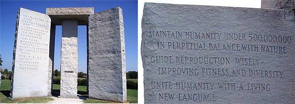 """O primeiro """"mandamento"""" dos Guidestones: Manter a humanidade sob 5.000.000 em perpétuo equilíbrio com a natureza."""