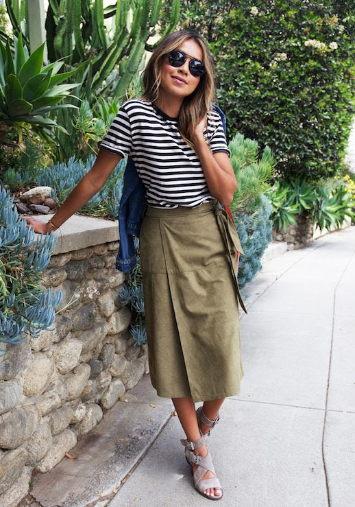 Le Fashion Blog Striped Tee Suede Midi Skirt Suede Heels Sunglasses Via Sincerely Jules