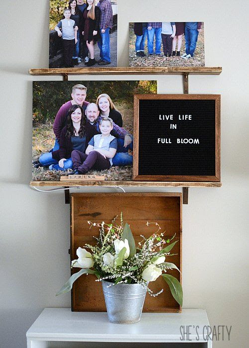 letter board, family photos, picture ledge shelves
