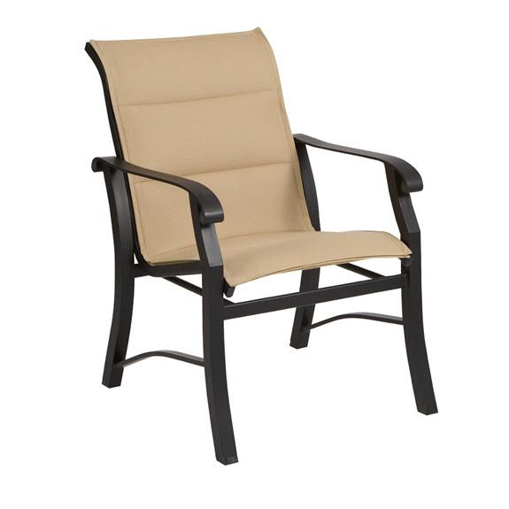 Woodard Cortland Padded Sling Dining Arm Chair | 42H501
