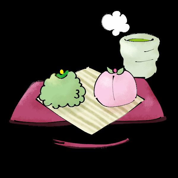 緑とピンクの和菓子のイラスト かわいいフリー素材が無料のイラストレイン