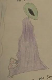 A drawing by Parkes of his alleged alien mother. (Credit: AMMACH Project/YouTube)